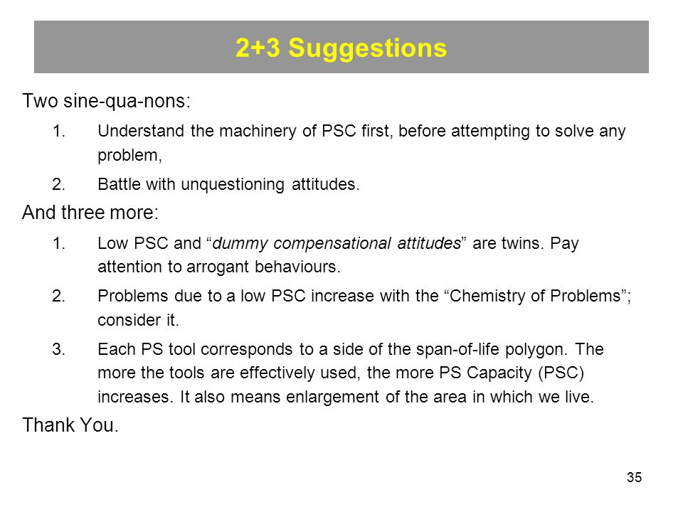 35 2+3 Suggestions Two sine-qua-nons: 1.Understand the machinery of PSC first, before attempting to solve any problem, 2.Battle with unquestioning attitudes.