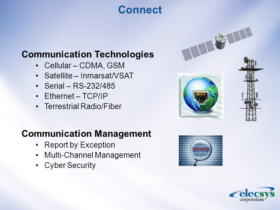 Connect Communication Technologies Cellular – CDMA, GSM Satellite – Inmarsat/VSAT Serial – RS-232/485 Ethernet – TCP/IP Terrestrial Radio/Fiber Communication Management Report by Exception Multi-Channel Management Cyber Security