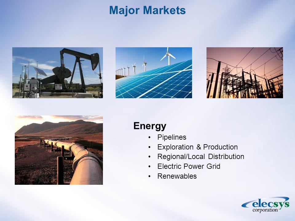 Major Markets Energy Pipelines Exploration & Production Regional/Local Distribution Electric Power Grid Renewables