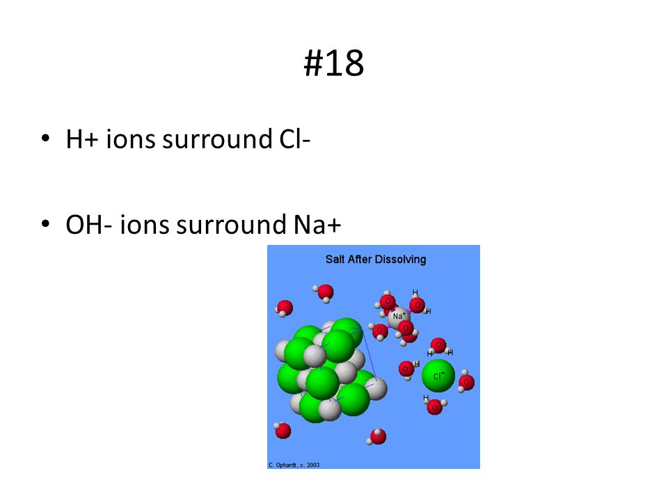 #18 H+ ions surround Cl- OH- ions surround Na+