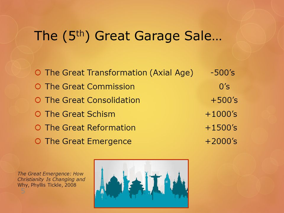 The (5 th ) Great Garage Sale…  The Great Transformation (Axial Age) -500's  The Great Commission0's  The Great Consolidation +500's  The Great Schism +1000's  The Great Reformation +1500's  The Great Emergence +2000's 5 The Great Emergence: How Christianity Is Changing and Why, Phyllis Tickle, 2008