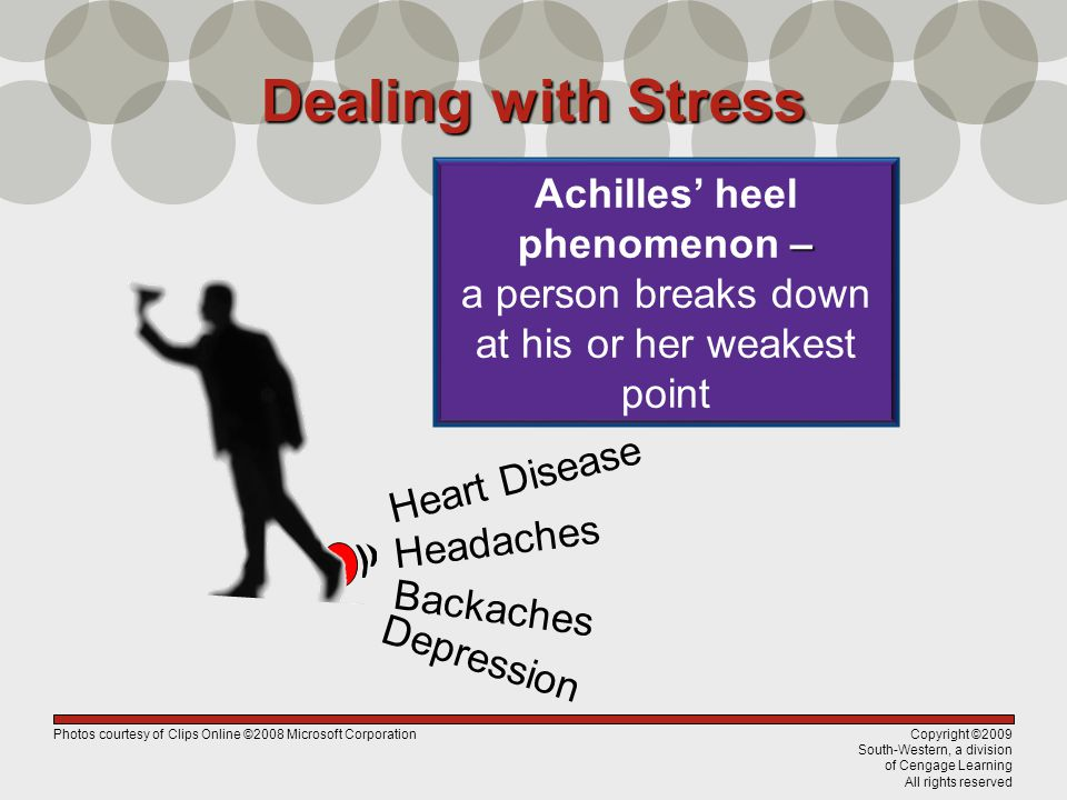 Copyright ©2009 South-Western, a division of Cengage Learning All rights reserved Dealing with Stress – Achilles' heel phenomenon – a person breaks down at his or her weakest point Backaches Headaches Heart Disease Depression Photos courtesy of Clips Online ©2008 Microsoft Corporation