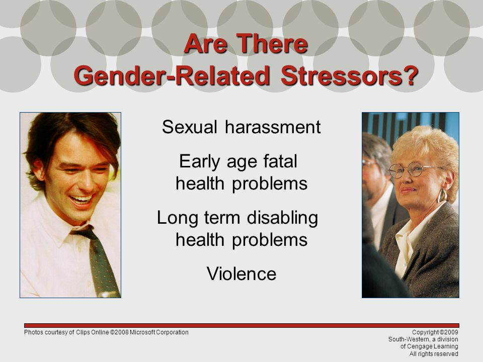 Copyright ©2009 South-Western, a division of Cengage Learning All rights reserved Are There Gender-Related Stressors? Sexual harassment Early age fata