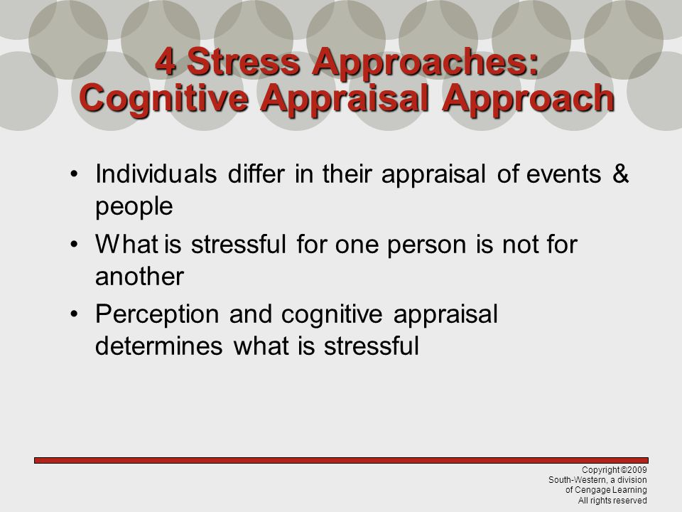 Copyright ©2009 South-Western, a division of Cengage Learning All rights reserved 4 Stress Approaches: Cognitive Appraisal Approach Problem-focused coping emphasizes managing the stressor Emotion-focused coping emphasizes managing your response Coping with Stress Photos courtesy of Clips Online ©2008 Microsoft Corporation