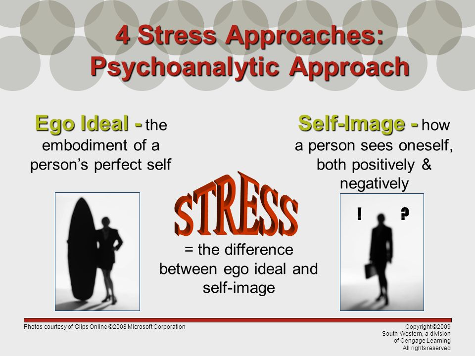 Copyright ©2009 South-Western, a division of Cengage Learning All rights reserved 4 Stress Approaches: Psychoanalytic Approach = the difference betwee