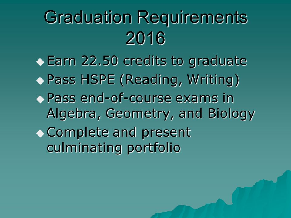 Graduation Requirements 2016  Earn 22.50 credits to graduate  Pass HSPE (Reading, Writing)  Pass end-of-course exams in Algebra, Geometry, and Biology  Complete and present culminating portfolio
