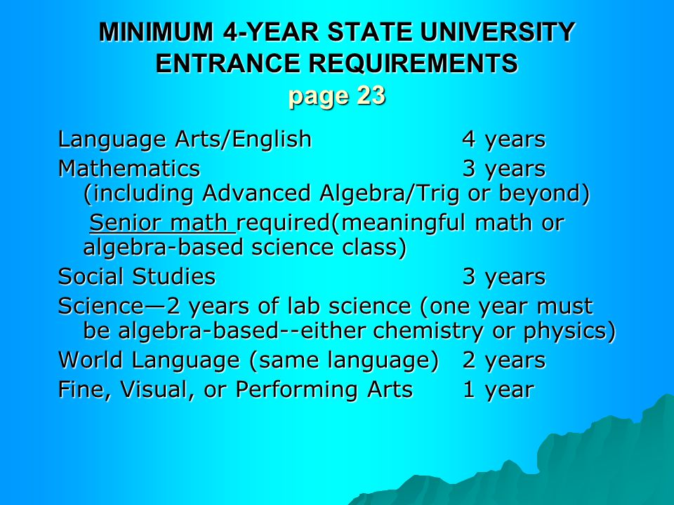 MINIMUM 4-YEAR STATE UNIVERSITY ENTRANCE REQUIREMENTS page 23 Language Arts/English4 years Mathematics3 years (including Advanced Algebra/Trig or beyond) Senior math required(meaningful math or algebra-based science class) Senior math required(meaningful math or algebra-based science class) Social Studies3 years Science—2 years of lab science (one year must be algebra-based--either chemistry or physics) World Language (same language)2 years Fine, Visual, or Performing Arts 1 year