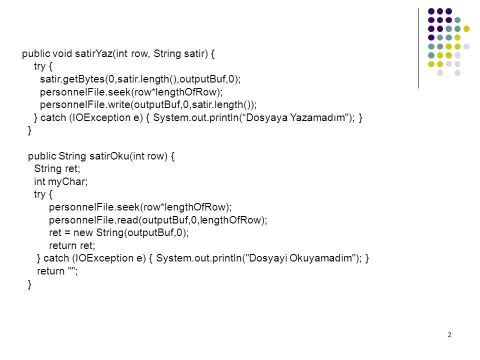 2 public void satirYaz(int row, String satir) { try { satir.getBytes(0,satir.length(),outputBuf,0); personnelFile.seek(row*lengthOfRow); personnelFile.write(outputBuf,0,satir.length()); } catch (IOException e) { System.out.println( Dosyaya Yazamadım ); } } public String satirOku(int row) { String ret; int myChar; try { personnelFile.seek(row*lengthOfRow); personnelFile.read(outputBuf,0,lengthOfRow); ret = new String(outputBuf,0); return ret; } catch (IOException e) { System.out.println( Dosyayi Okuyamadim ); } return ; }