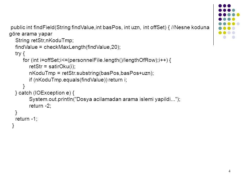4 public int findField(String findValue,int basPos, int uzn, int offSet) { //Nesne koduna göre arama yapar String retStr,nKoduTmp; findValue = checkMaxLength(findValue,20); try { for (int i=offSet;i<=(personnelFile.length()/lengthOfRow);i++) { retStr = satirOku(i); nKoduTmp = retStr.substring(basPos,basPos+uzn); if (nKoduTmp.equals(findValue)) return i; } } catch (IOException e) { System.out.println( Dosya acilamadan arama islemi yapildi... ); return -2; } return -1; }