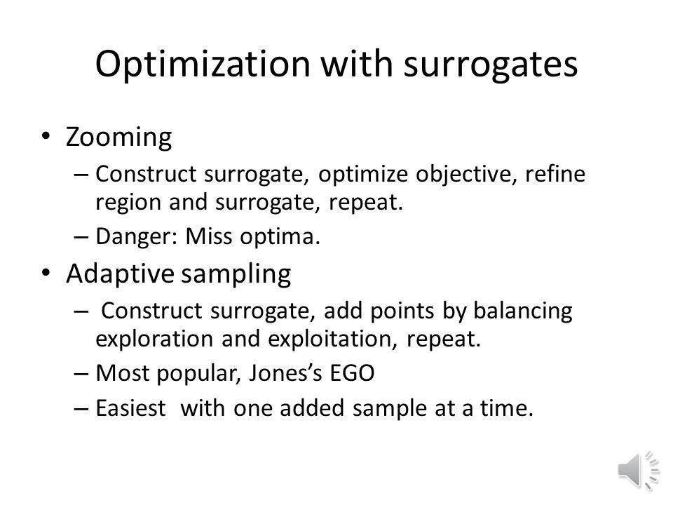 Optimization with surrogates Zooming – Construct surrogate, optimize objective, refine region and surrogate, repeat.