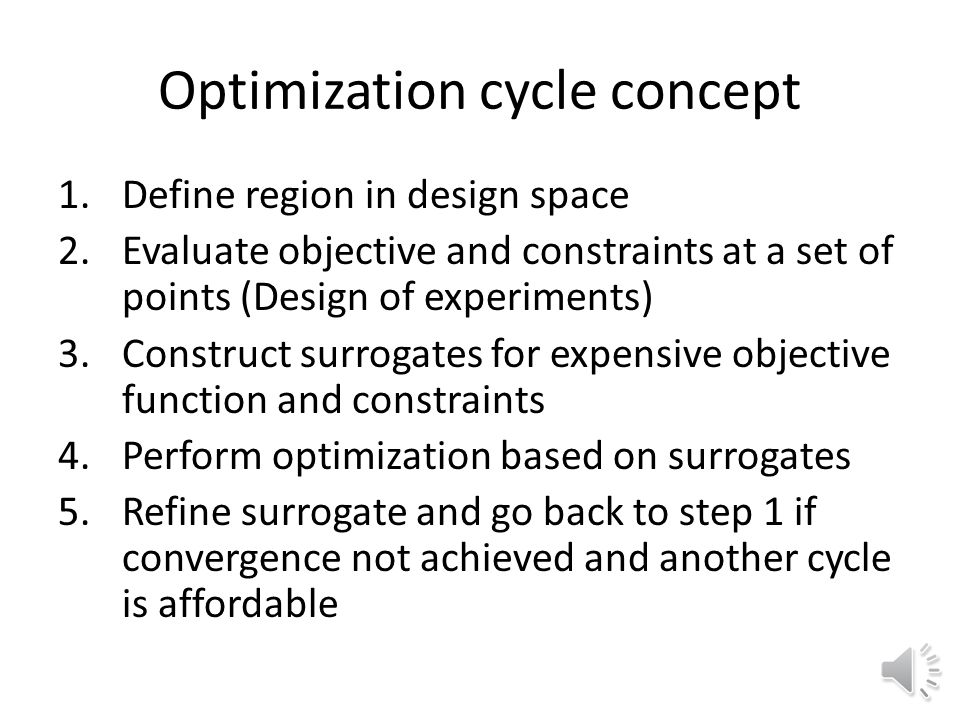 Optimization with surrogates Zooming – Construct surrogate, optimize objective, refine region and surrogate, repeat.