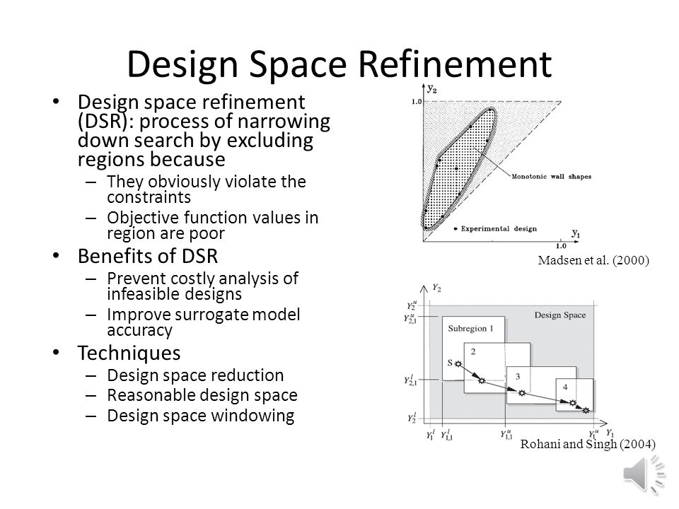 Design Space Refinement Design space refinement (DSR): process of narrowing down search by excluding regions because – They obviously violate the constraints – Objective function values in region are poor Benefits of DSR – Prevent costly analysis of infeasible designs – Improve surrogate model accuracy Techniques – Design space reduction – Reasonable design space – Design space windowing Madsen et al.