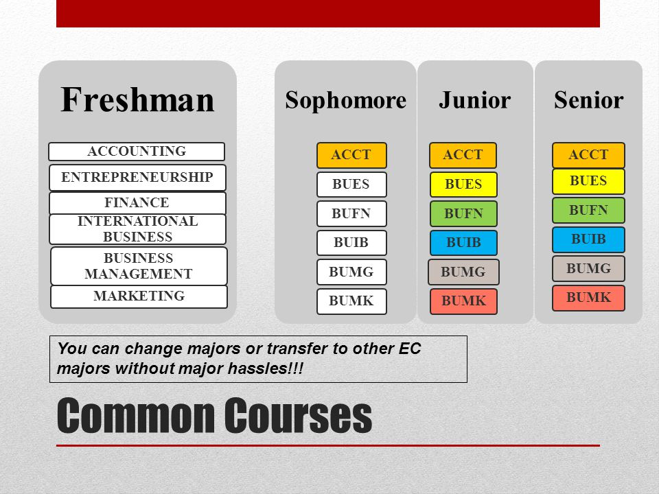 Common Courses Freshman ACCOUNTING ENTREPRENEURSHIP FINANCE INTERNATIONAL BUSINESS BUSINESS MANAGEMENT MARKETING Sophomore ACCTBUESBUFNBUIBBUMGBUMK Junior ACCTBUESBUFNBUIBBUMGBUMK Senior ACCTBUESBUFNBUIBBUMGBUMK You can change majors or transfer to other EC majors without major hassles!!!