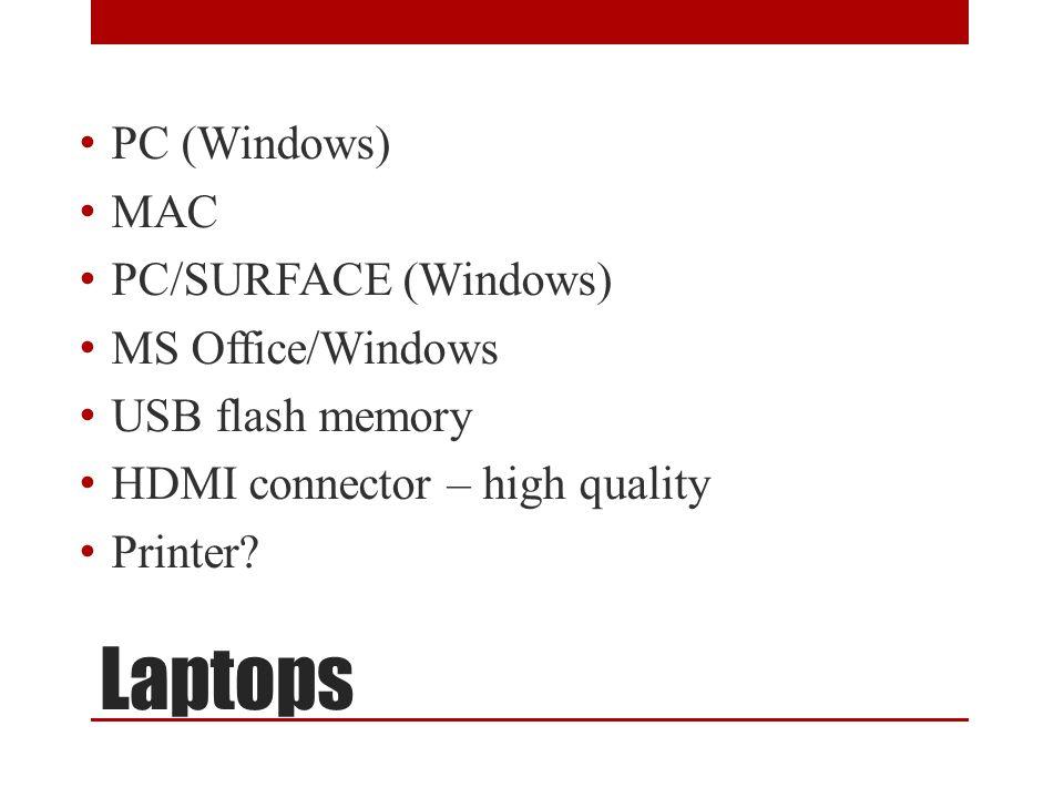 Laptops PC (Windows) MAC PC/SURFACE (Windows) MS Office/Windows USB flash memory HDMI connector – high quality Printer