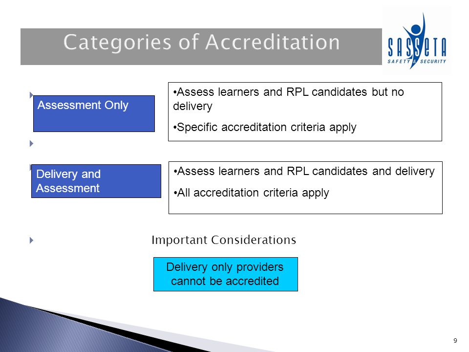 9     Important Considerations Delivery only providers cannot be accredited Assessment Only Delivery and Assessment Assess learners and RPL candid