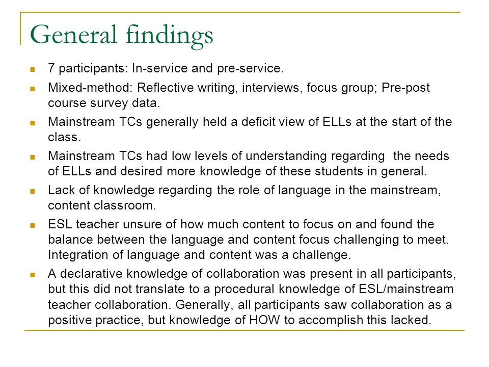 General findings 7 participants: In-service and pre-service. Mixed-method: Reflective writing, interviews, focus group; Pre-post course survey data. M