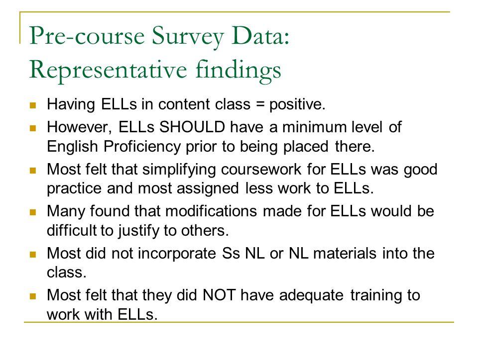 Pre-course Survey Data: Representative findings Having ELLs in content class = positive. However, ELLs SHOULD have a minimum level of English Proficie