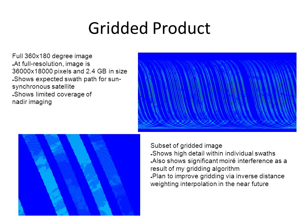 Gridded Product Full 360x180 degree image ● At full-resolution, image is 36000x18000 pixels and 2.4 GB in size ● Shows expected swath path for sun- sy