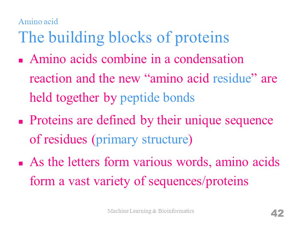 Amino acid The building blocks of proteins Amino acids combine in a condensation reaction and the new amino acid residue are held together by peptide bonds Proteins are defined by their unique sequence of residues (primary structure) As the letters form various words, amino acids form a vast variety of sequences/proteins Machine Learning & Bioinformatics 42