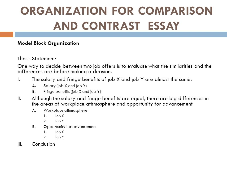 Thesis For Compare And Contrast Essay Writing A Comparison Essay