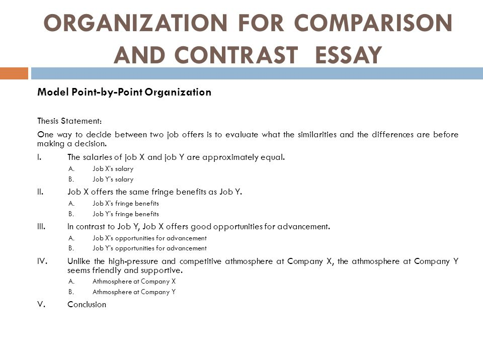 comparison and contrast essay presented by edi brata  ppt download organization for comparison and contrast essay model pointbypoint organization thesis statement
