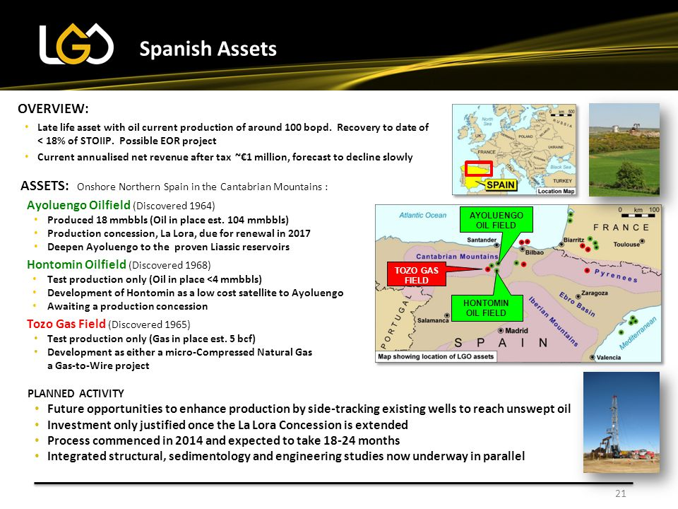 21 Spanish Assets ASSETS: Onshore Northern Spain in the Cantabrian Mountains : Ayoluengo Oilfield (Discovered 1964) Produced 18 mmbbls (Oil in place est.