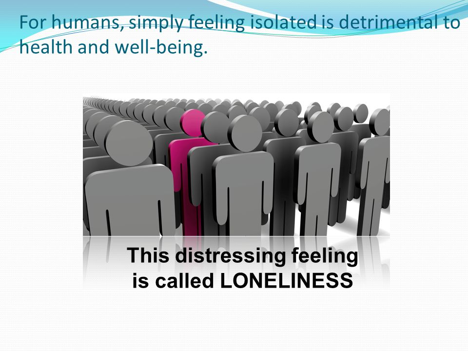 Loneliness: Conceptual Background Appetitive: Functions like hunger and thirst to motivate & reward formation and maintenance of social connections crucial for the survival of the genes (Cacioppo & Hawkley, TICS, 2009) Pleasant social - Pleasant nonsocial Ventral striatum + - Cacioppo et al., 2009