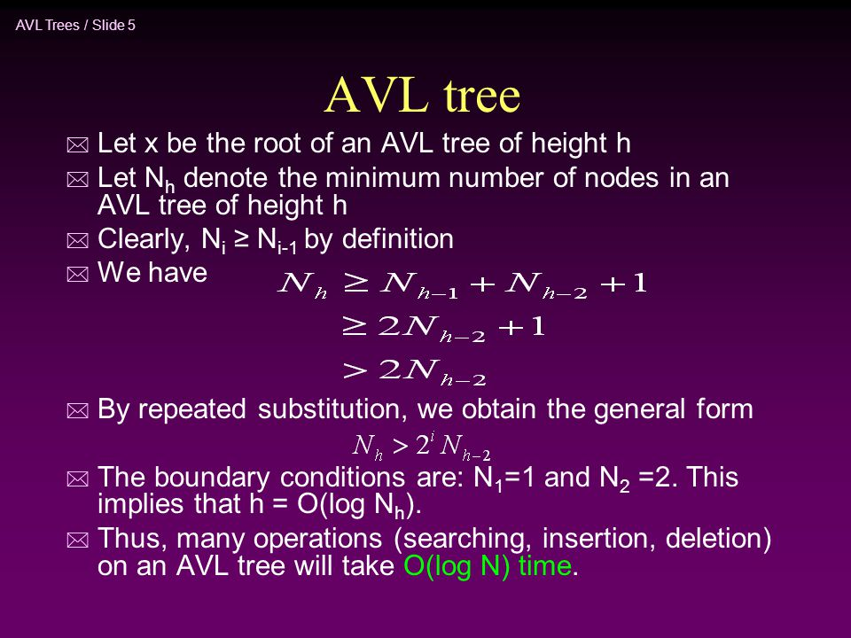AVL Trees / Slide 5 AVL tree * Let x be the root of an AVL tree of height h * Let N h denote the minimum number of nodes in an AVL tree of height h *