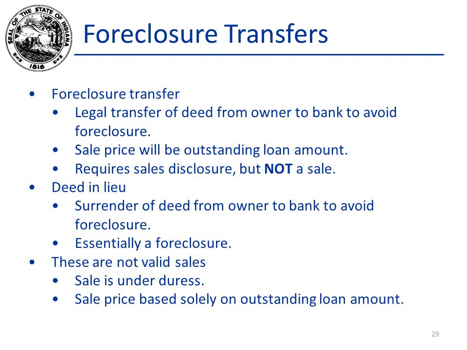 Foreclosure Transfers Foreclosure transfer Legal transfer of deed from owner to bank to avoid foreclosure.