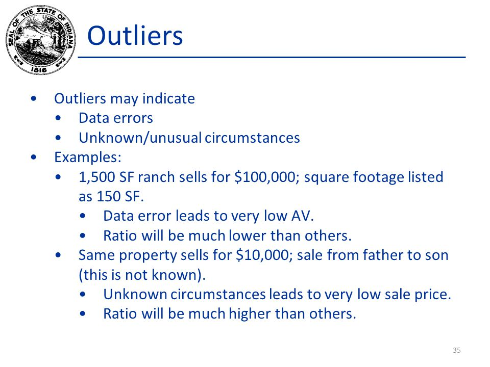 Outliers Outliers may indicate Data errors Unknown/unusual circumstances Examples: 1,500 SF ranch sells for $100,000; square footage listed as 150 SF.
