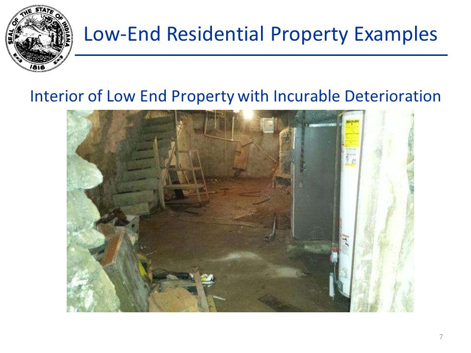 Low-End Residential Property Examples Interior of Low End Property with Incurable Deterioration 7