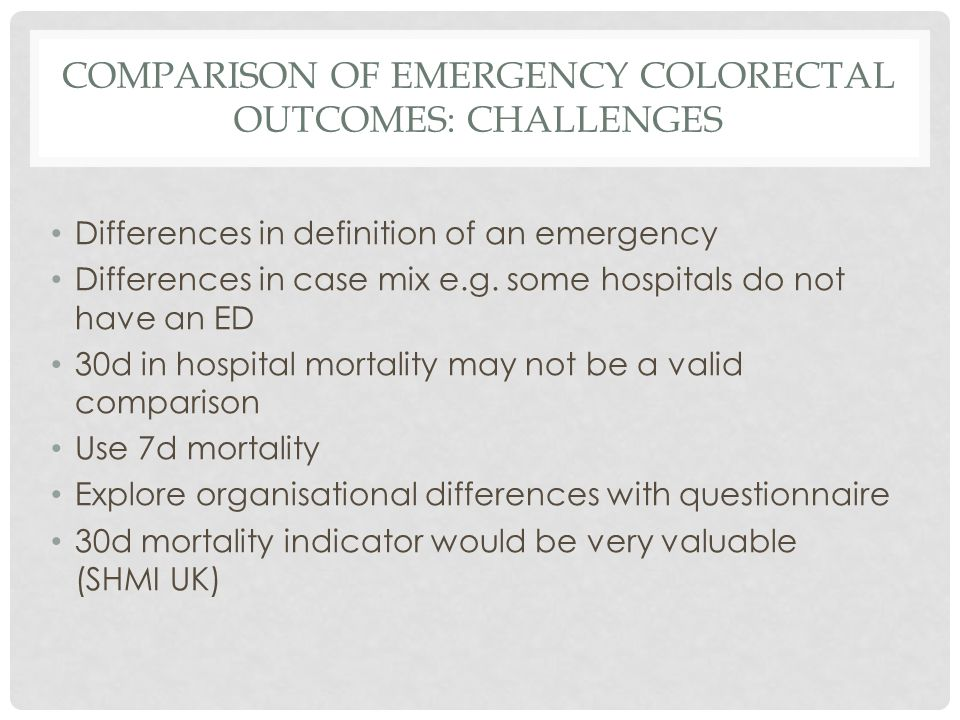 COMPARISON OF EMERGENCY COLORECTAL OUTCOMES: CHALLENGES Differences in definition of an emergency Differences in case mix e.g.