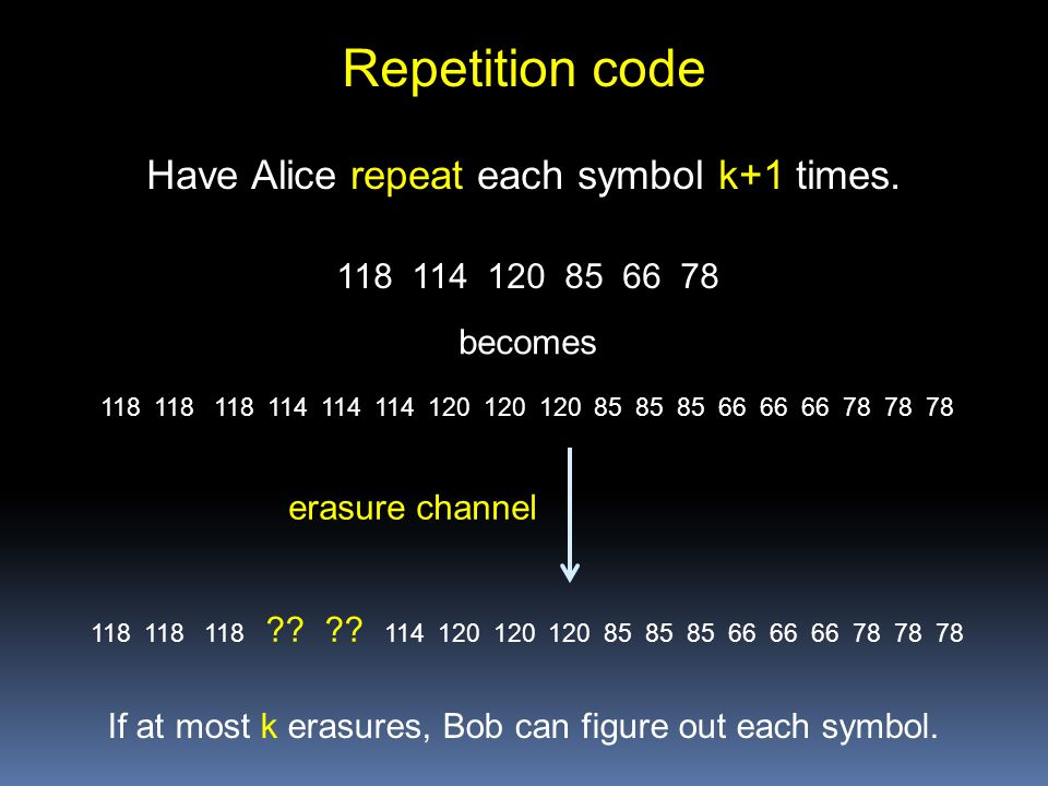Repetition code 118 114 120 85 66 78 erasure channel Have Alice repeat each symbol k+1 times.