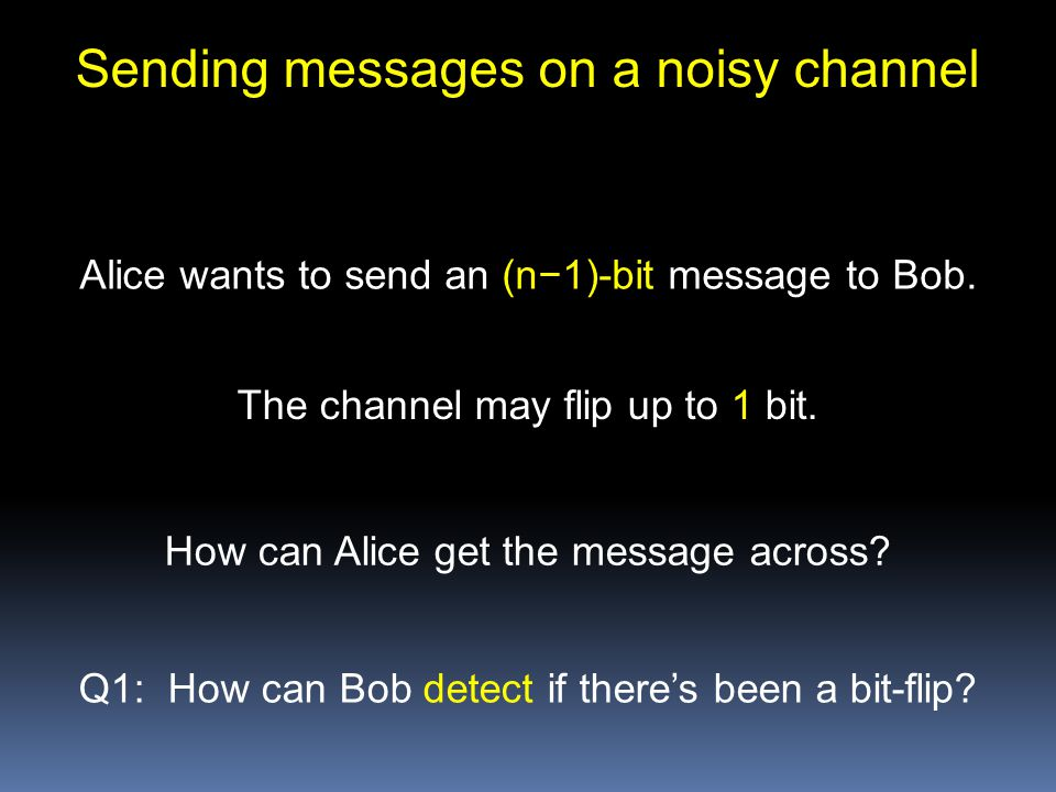 Sending messages on a noisy channel Alice wants to send an (n−1)-bit message to Bob.