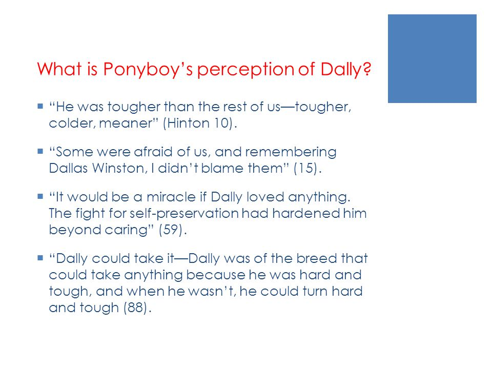 What is Ponyboy's perception of Dally.