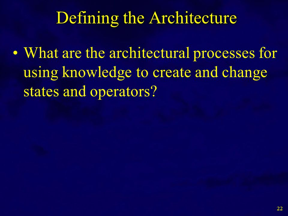 What are the architectural processes for using knowledge to create and change states and operators? 22