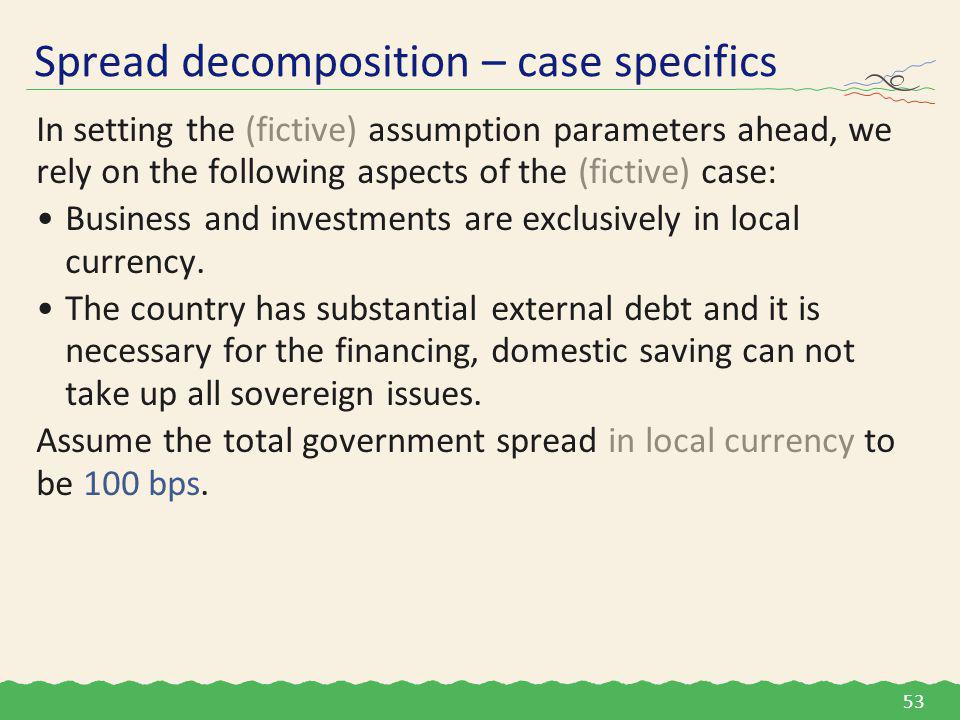 In setting the (fictive) assumption parameters ahead, we rely on the following aspects of the (fictive) case: Business and investments are exclusively in local currency.