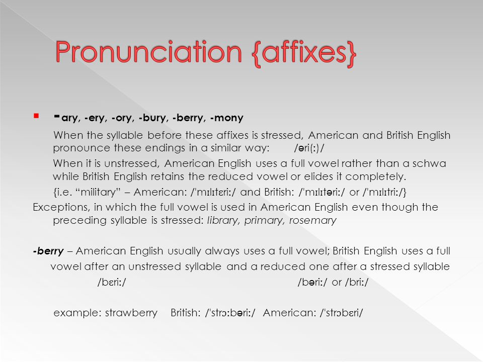  - ary, -ery, -ory, -bury, -berry, -mony When the syllable before these affixes is stressed, American and British English pronounce these endings in