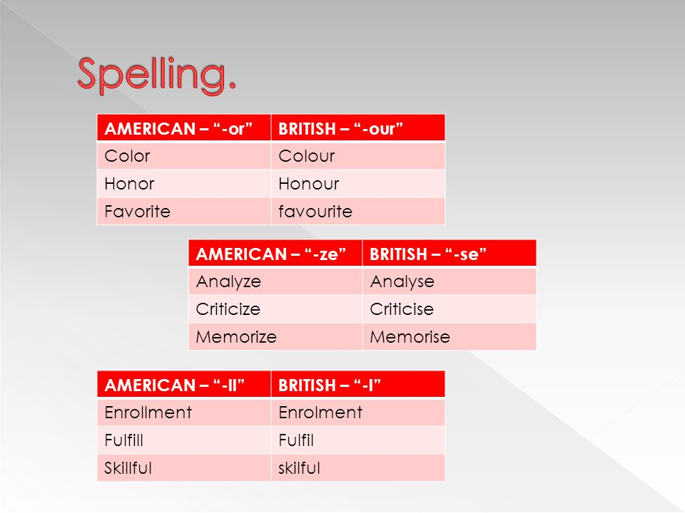 "AMERICAN – ""-or""BRITISH – ""-our"" ColorColour HonorHonour Favoritefavourite AMERICAN – ""-ll""BRITISH – ""-l"" EnrollmentEnrolment FulfillFulfil Skillfulsk"