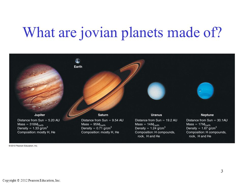 Copyright © 2012 Pearson Education, Inc. What are jovian planets made of? 3