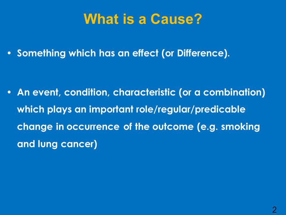 Characteristics of a cause 1.Must precede the effect 2.