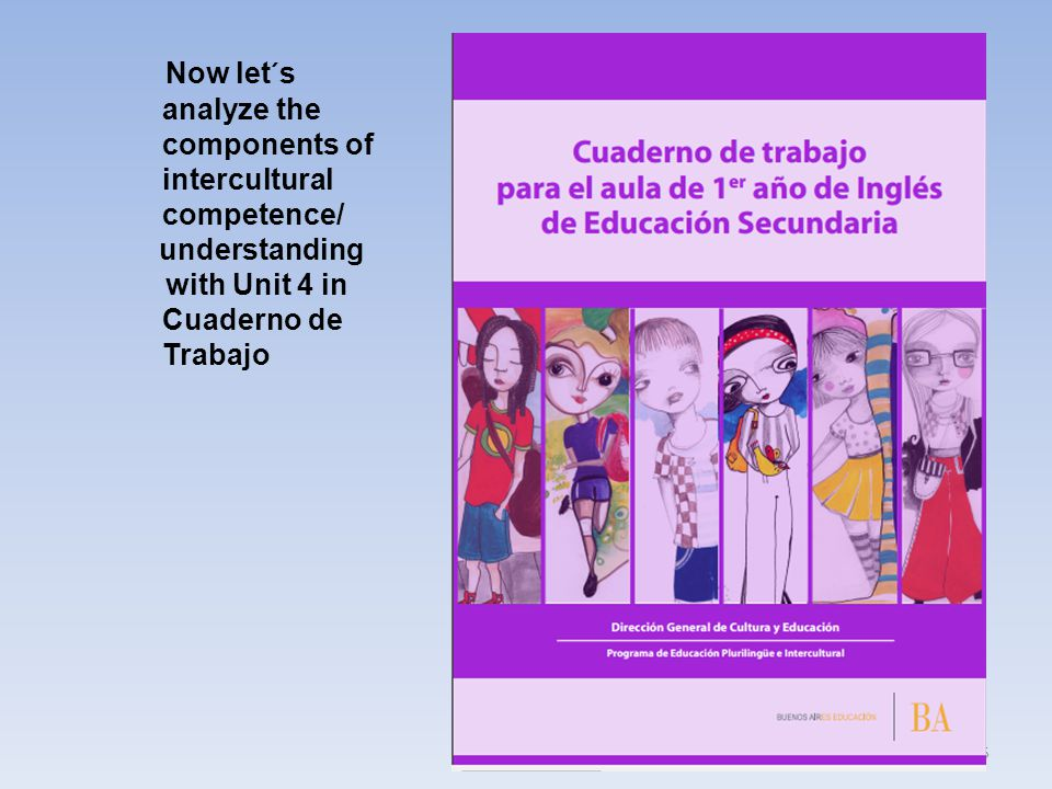 55 Now let´s analyze the components of intercultural competence/ understanding with Unit 4 in Cuaderno de Trabajo