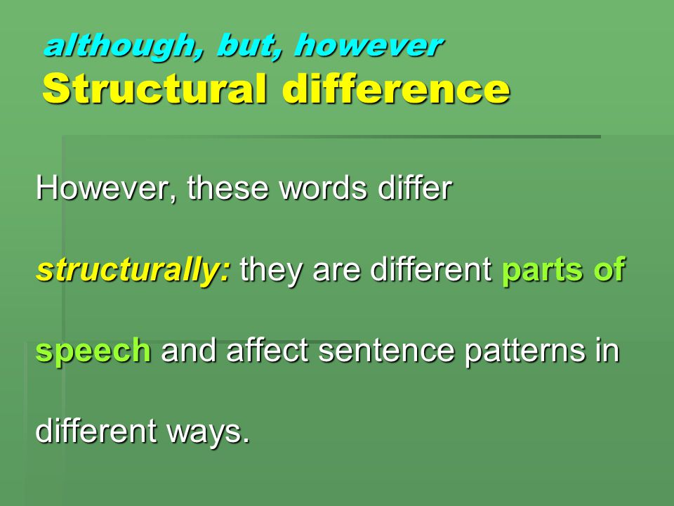 although, but, however Semantic similarity These three words are related semantically (in meaning): they all signal a contrast in the information that