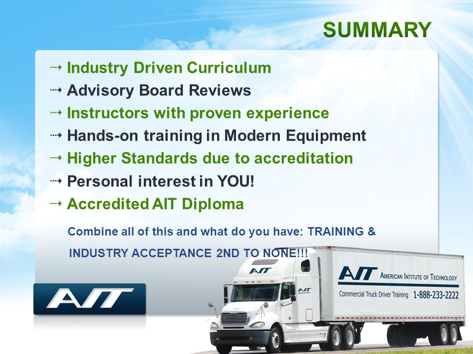  Industry Driven Curriculum  Advisory Board Reviews  Instructors with proven experience  Hands-on training in Modern Equipment  Higher Standards due to accreditation  Personal interest in YOU.