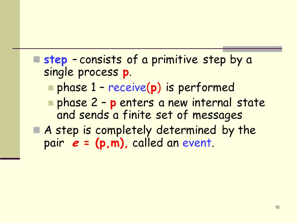 step – consists of a primitive step by a single process p.