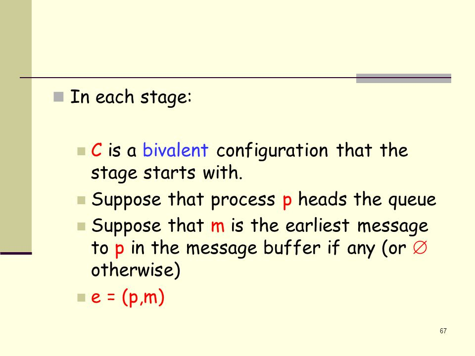 67 In each stage: C is a bivalent configuration that the stage starts with.