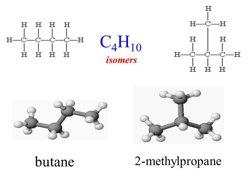 butane 2-methylpropane C 4 H 10 isomers