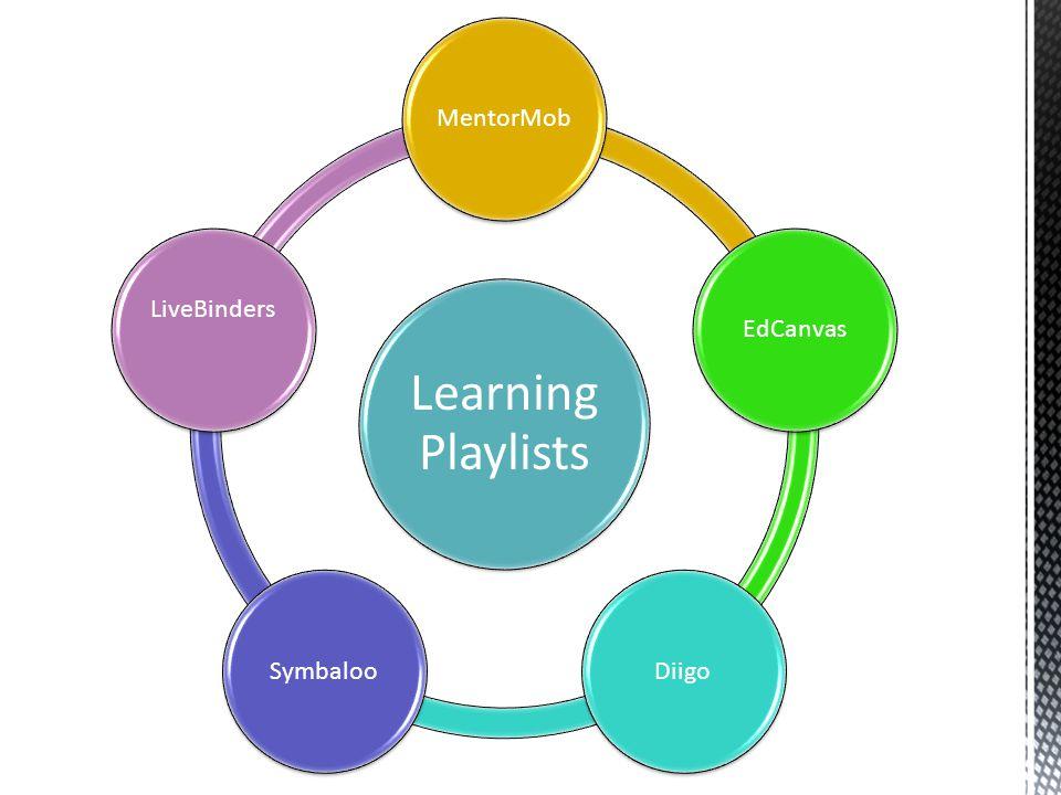 Learning Playlists MentorMobEdCanvasDiigoSymbaloo LiveBinders