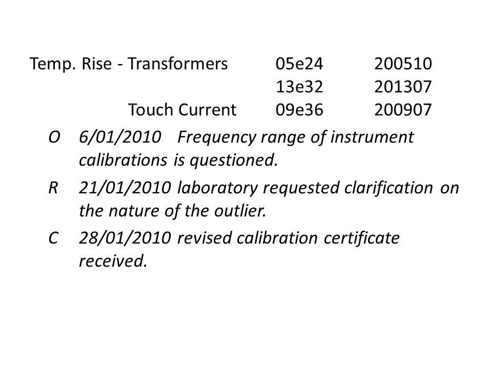 Temp. Rise - Transformers05e24200510 13e32201307 Touch Current09e36200907 O6/01/2010Frequency range of instrument calibrations is questioned. R21/01/2