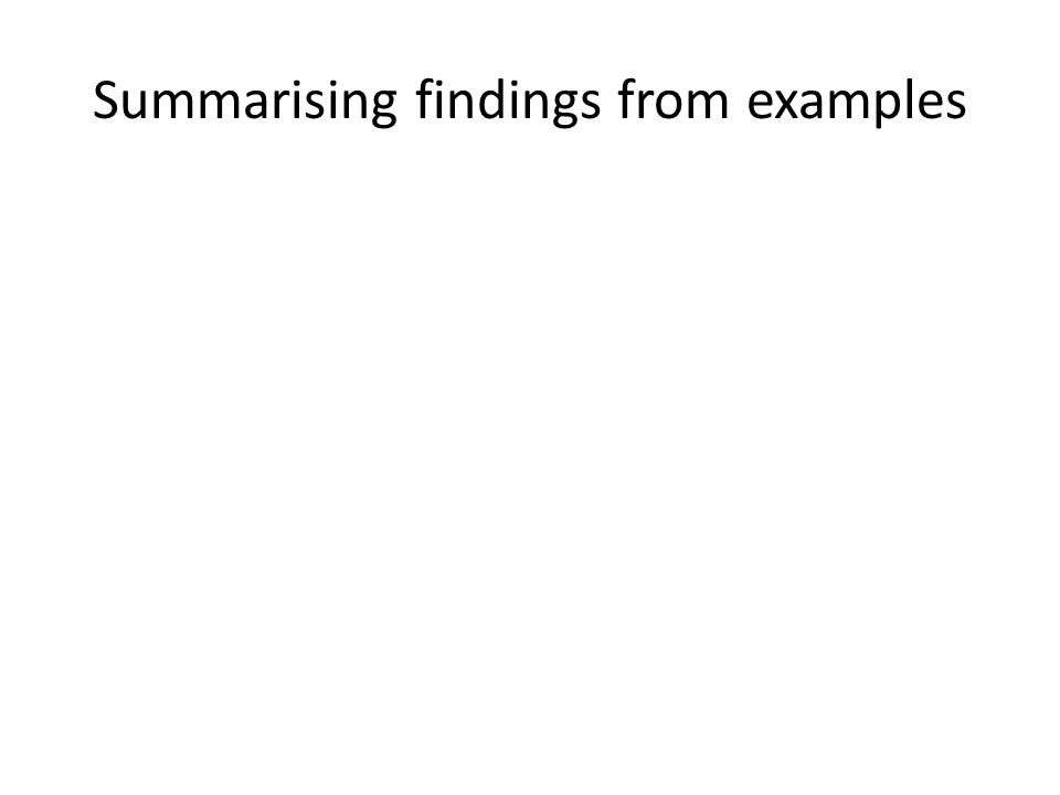 Summarising findings from examples